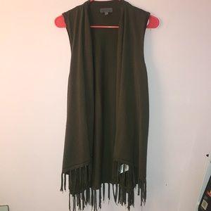 Green Fringe Vest
